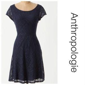 Anthropologie Deletta Navy Floral Dress M
